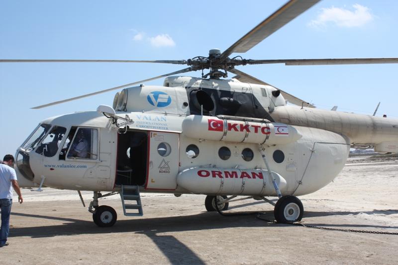 Kiralanan yangın helikopteri bugün göreve başladı