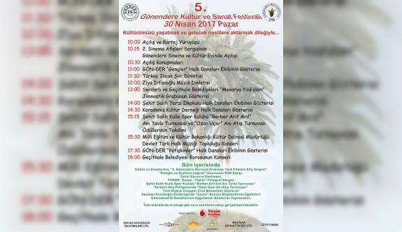 5. Gönendere Kültür Sanat Festivali pazar günü