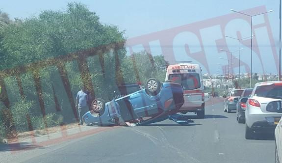 Girne girişinde korkutan kaza