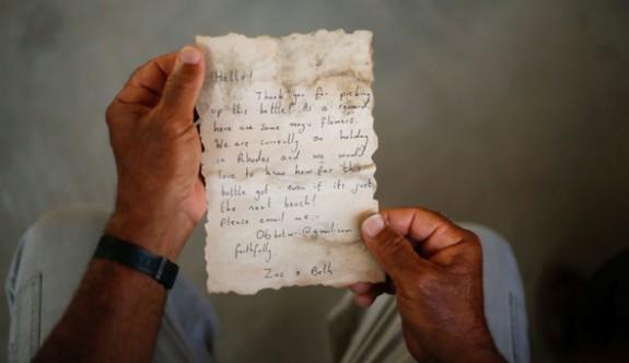 Rodos'tan denize bırakılan mektup Gazze sahiline ulaştı