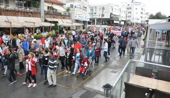 Lefkoşa'da cumhuriyet yürüyüşü