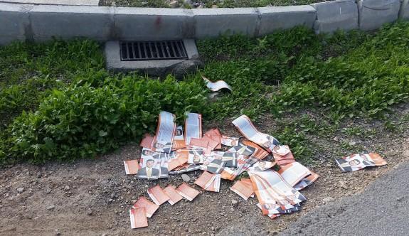 Broşür ve kartvizitler yol kenarlarında