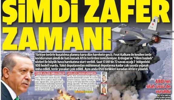 Afrin harekatı manşetlerde ( Günün gazete manşetleri - 21 Ocak 2018 )