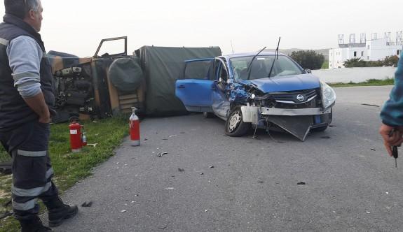 Alayköy yolunda askeri araç kaza yaptı