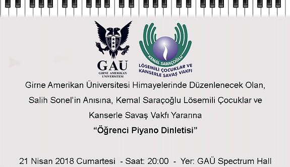 Kemal Saraçoğlu  Vakfı yararına piyano dinletisi