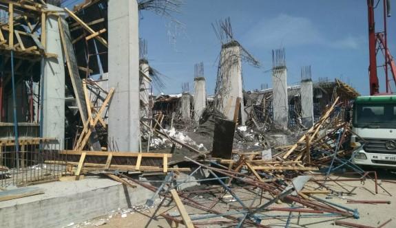 Otel inşasında karkas çöktü