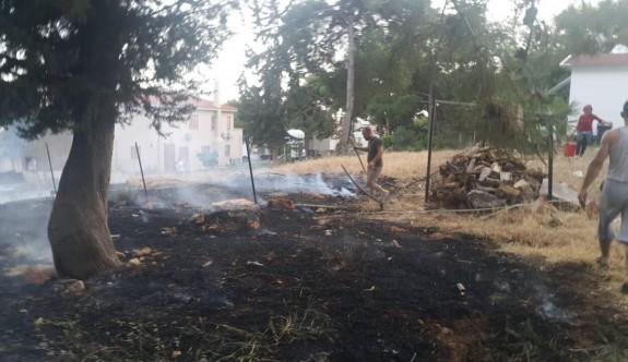 Arazide başlayan yangın evlere sıçrıyordu