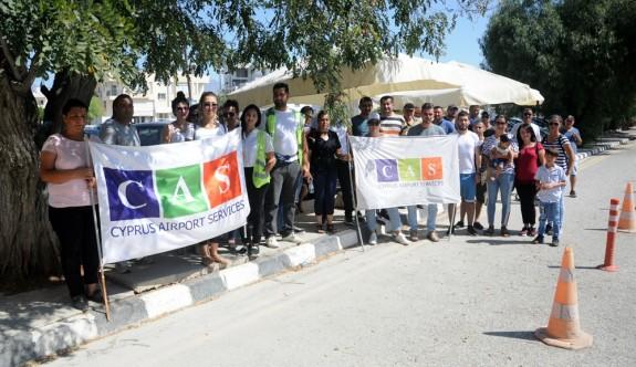 CAS personeli eylemlerini Başbakanlık önüne taşıdı