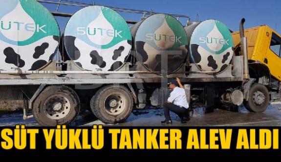 Süt yüklü tankerde yangın