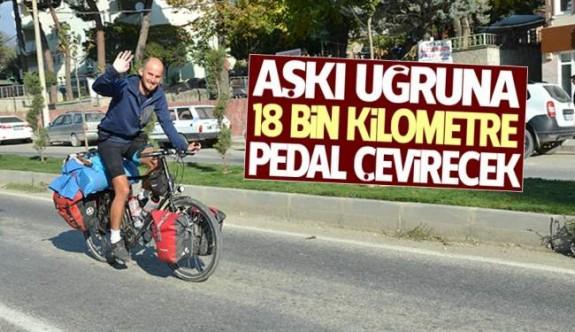 Evlenme teklifi için 18 bin km pedal çevirecek