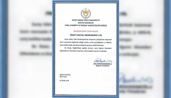 Trust Capital Reinsurance lisansını yenileyen ilk şirket