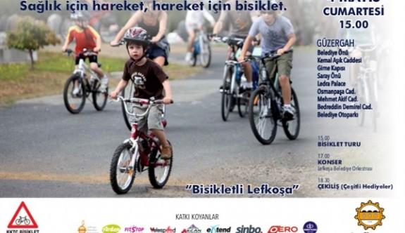 """Lefkoşa'da """"Sağlık İçin Hareket, Hareket İçin Bisiklet"""" sloganıyla bisiklet turu"""