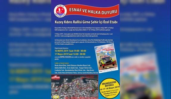 Ralli nedeniyle Girne'de bazı yollar trafiğe kanacak
