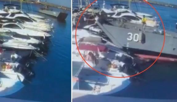 Çıkarma gemisi, teknelere çarptı