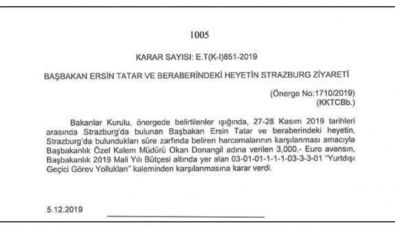Tatar'a iki günlük gezi için 3 bin Euro yolluk