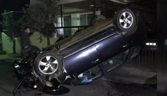 Araç, evin duvarına çarptı