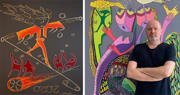 Kıbrıs Modern Sanat Müzesi için sanatçı Alexey Balin, Kovid 19'a karşı mücadeleyi tuvale yansıttı
