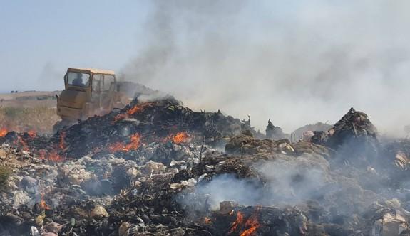 İskele'de çöplükte yangın çıktı