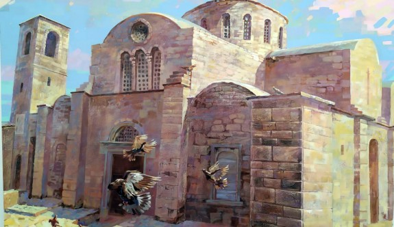 Mukhacheva, tarihi ve turistik yerleri tuvale taşıdı