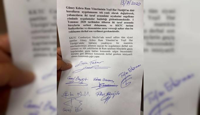 Meclis'ten Rum tarafına karşı ortak deklarasyon