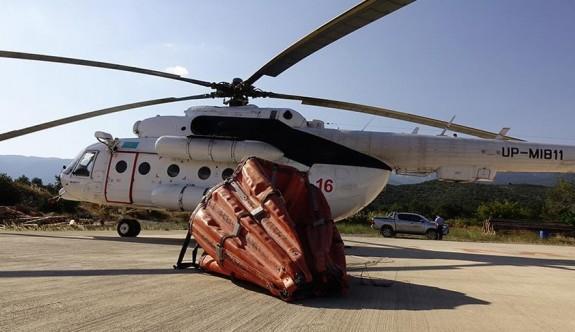 Yangın helikopteri Ercan Havalimanı'nda