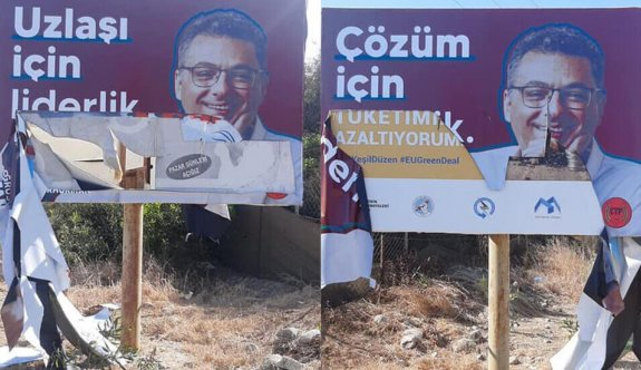 Erhürman'ın afişlerine saldırı