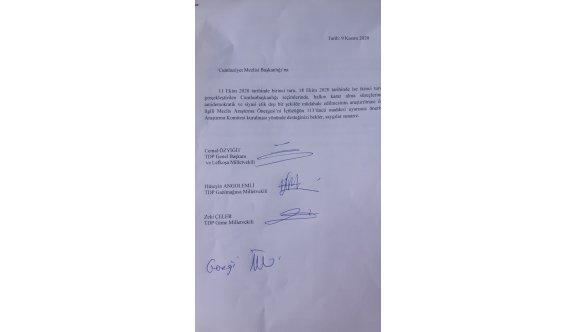 TDP, Meclis'e araştırma önergesi sundu