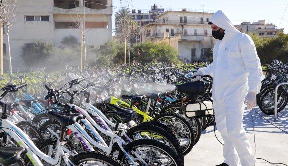 Maraş'taki bisikletlere dezenfekte