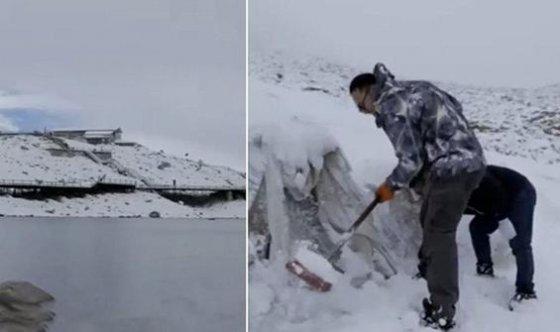 Çinli bilim adamları, buzulu örtü ile kapladı