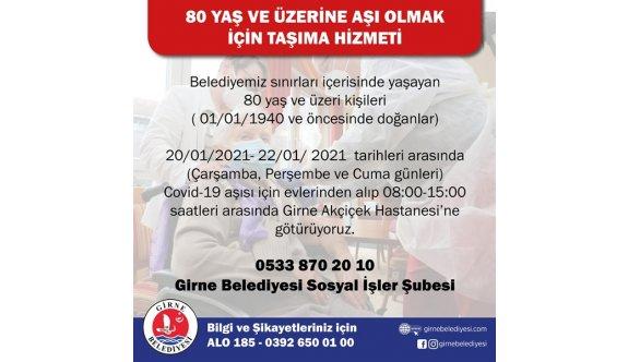 Girne Belediyesi, 80 yaş üstü vatandaşlara aşı yapacak