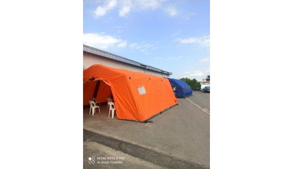 Sivil Savunma Teşkilatı, Pandemi Hastanesi'ne bekleme çadırları kurdu