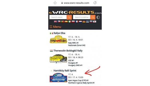 Hamitköy Rallisi, ewrc-results.com sitesinde