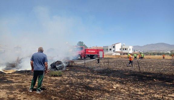Kermiya'da boş arazide çıkan yangın korkuttu