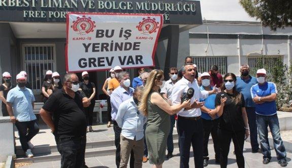 Kamu-İş Gazimağusa Serbest Bölge ve Liman Müdürlüğü'nde grevde