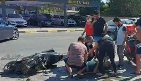 Motosiklet sürücüsü ucuz atlattı