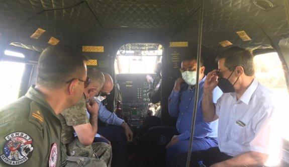 Tatar, Saner, Topaloğlu ve Ertuğruloğlu yangın bölgesini havadan inceledi