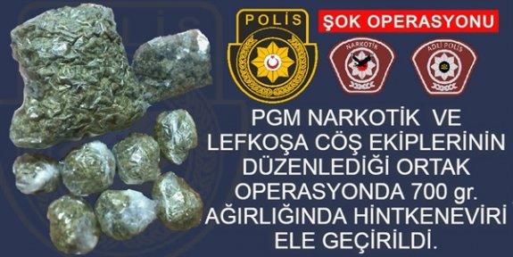 Lefkoşa'da 700 gram uyuşturucu ele geçirildi