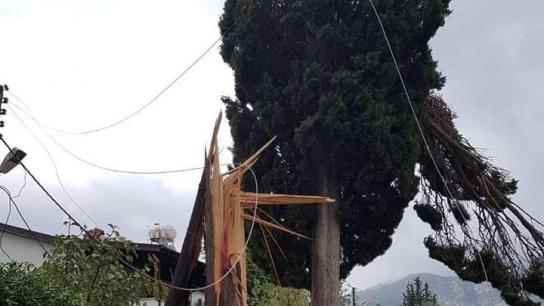 Çatalköy - Ozanköy arasında meydana gelen hortum Teknecik elektrik santraline de zarar verdi